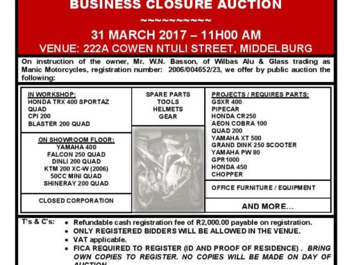 Business Closure Auction – 31 March 2017 @ 11h00 (Middelburg, Mpumalanga)