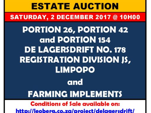 FARM AUCTION – 2 DECEMBER 2017 @ 10H00 (ON SITE)