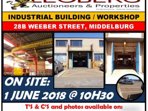 INDUSTRIAL BUILDING / WORKSHOP ON AUCTION 1 JUNE 2018 @ 10H30 – MIDDELBURG