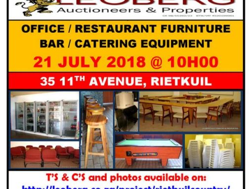 Rietkuil Country Club – Clearance Auction – 21 July 2018 @ 10h00