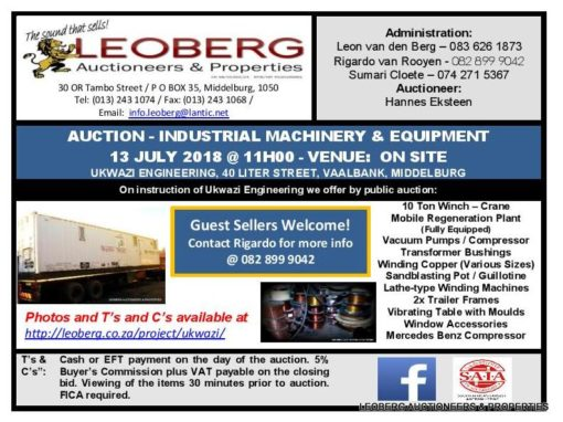 AUCTION – INDUSTRIAL MACHINERY / EQUIPMENT & VEHICLES – 13 JULY 2018