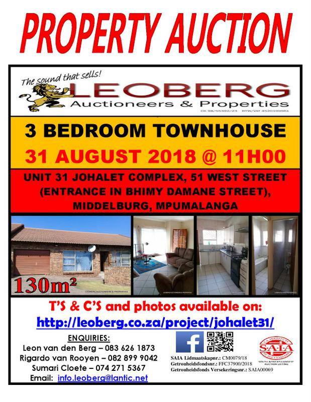 Property Auction – 31 August 2018 at 11h00