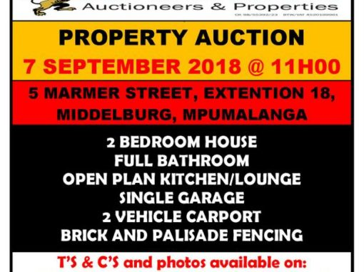 2 BEDROOM HOUSE – 7 SEPTEMBER 2018 @ 11H00 – MIDDELBURG, MPUMALANGA