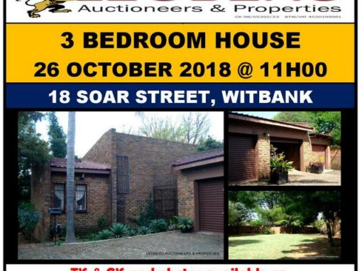 SPACIOUS 3 BEDROOM FAMILY HOME AUCTION – 26 OCTOBER 2018 AT 11H00