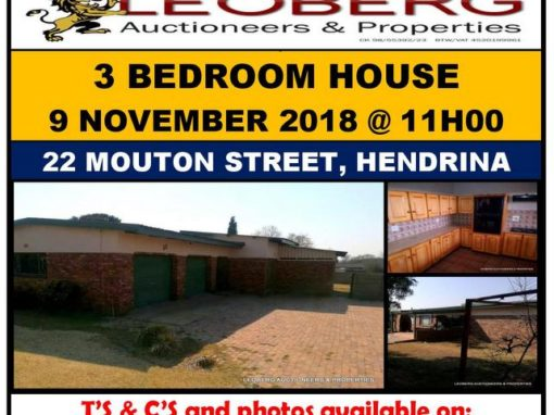 3 Bedroom House on Auction – Hendrina – 9 November 2018 @ 11h00