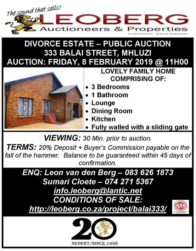 DIVORCE ESTATE – PUBLIC AUCTION – 8 FEBRUARY 2019