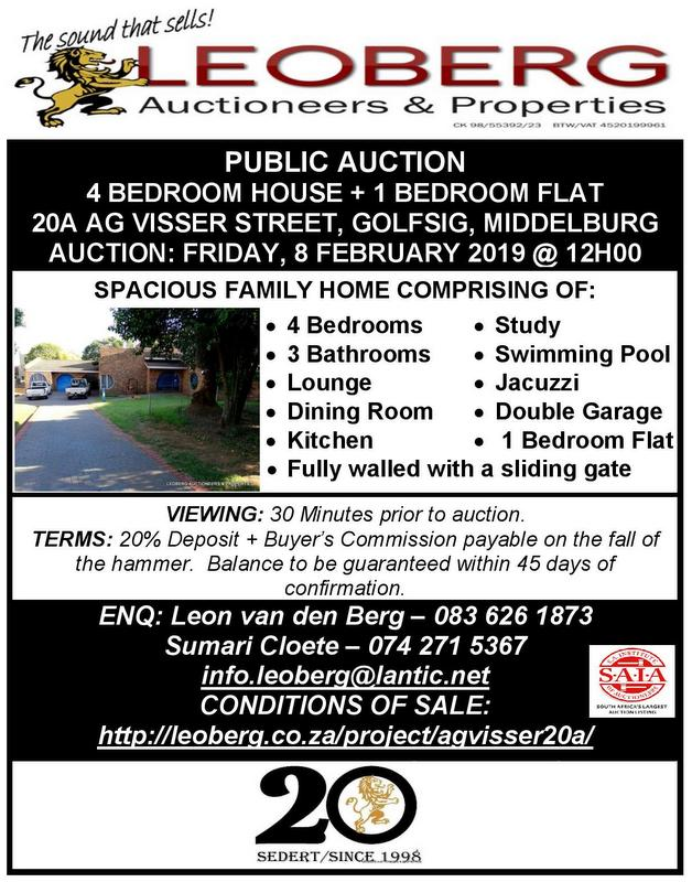 SPACIOUS 4 BEDROOM FAMILY HOME – PUBLIC AUCTION – 8 FEBRUARY 2019