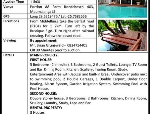 EXQUISITE 48HA ESTATE – PUBLIC AUCTION – 29 MARCH 2019 @ 11H00
