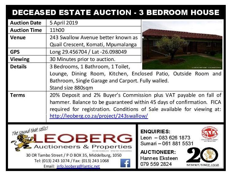 DECEASED ESTATE – PUBLIC AUCTION – 3 BEDROOM HOUSE