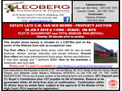 ESTATE LATE C.W. VAN DER MERWE – PROPERTY AUCTION – 26 JULY 2019 AT 11H00