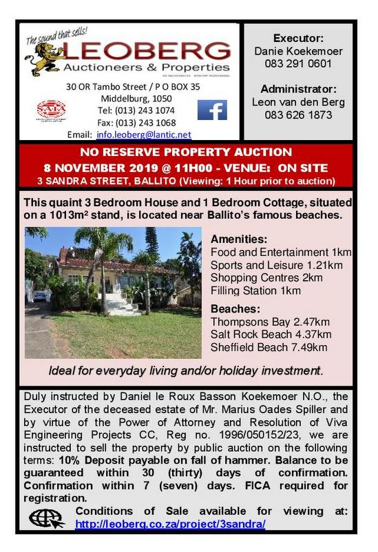 NO RESERVE – PROPERTY AUCTION – BALLITO – 8 NOVEMBER 2019 @ 11H00