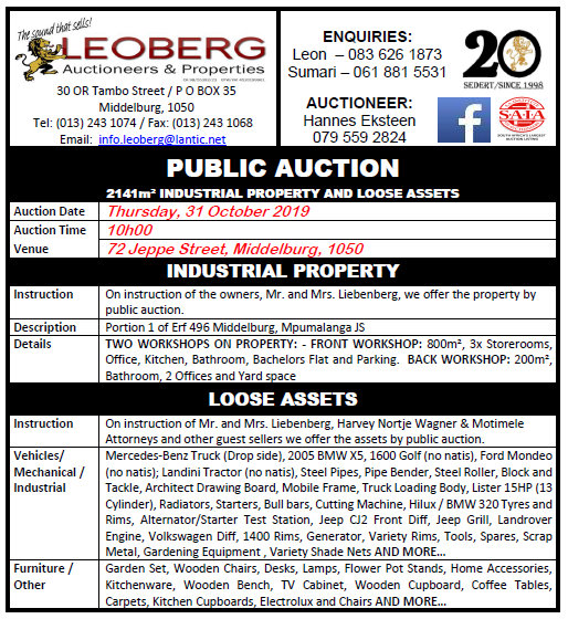 Industrial Property and Loose Assets – Public Auction – 31 October 2019 @ 10h00, Middelburg, Mpumalanga