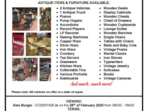 SATURDAY 29 FEBRUARY 2020 @ 10H00 – EXQUISITE ANTIQUE ITEMS AND FURNITURE – PUBLIC AUCTION